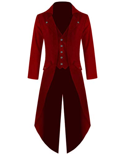 - Men's Cotton Twill Steampunk Tailcoat Jacket Goth Victorian Coat/Trench (5XL, Red)