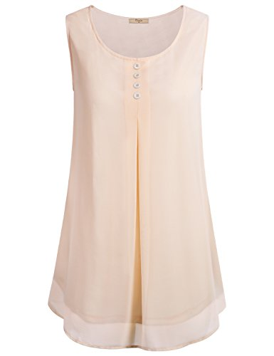 Cestyle Sleeveless Blouse with Collar, Womens Flowy Crepe Cool Soft Button Crew Neck Pleated Drape Chiffon Tank Top Shirt Beige M