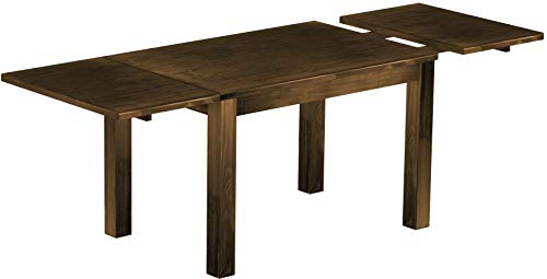 Brazilfurniture Dining Table Extended Rio Pine Dark Brown Solid Wood, Extensions Included, Rectangular Shape, 86.6 x 31.5 Inches, Oak Antique Conference Desk Kitchen