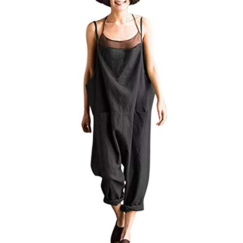 TANLANG Women's Causal Broadcloth Baggy Jumpsuit Loose Rompers Wide Leg Overalls Solid Solor Sling Harem Plus Size Pants Black