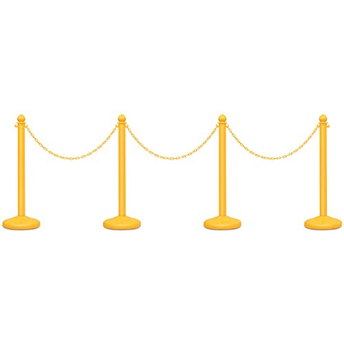 Goplus 4pcs Plastic Stanchion Set Crowd Control Stanchions Barriers Outdoor and Indoor Stanchions with 39.5