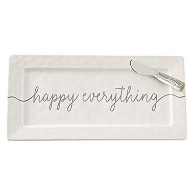 Mud Pie 4075142 Happy Hostess Serving Platter, White