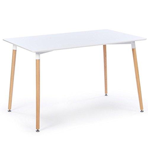 Meubletmoi Mesa Blanca Rectangular Estilo escandinavo 120 cm – Pie ...