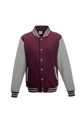 Awdis Unisex Varsity Jacket (M) (Burgundy / Heather Gray) -