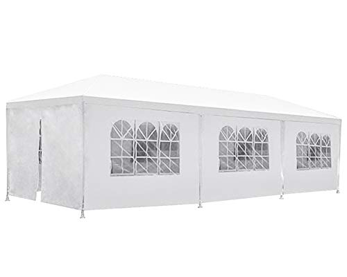 BestMassage Party Tent Patio Tent Wedding Tent 10x30ft Outdoor Patio Gazebo BBQ Shelter with 8 Removable Sides Walls for Party Garden ()
