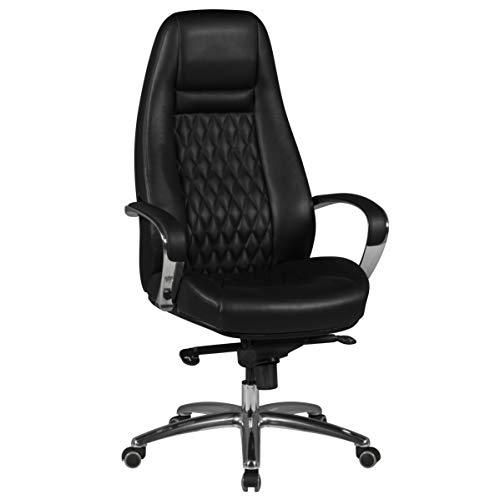 KS-Furniture Austin - Silla de Oficina de Piel autentica, 120 kg, Respaldo Alto, con reposacabezas, X-XL, Color Negro