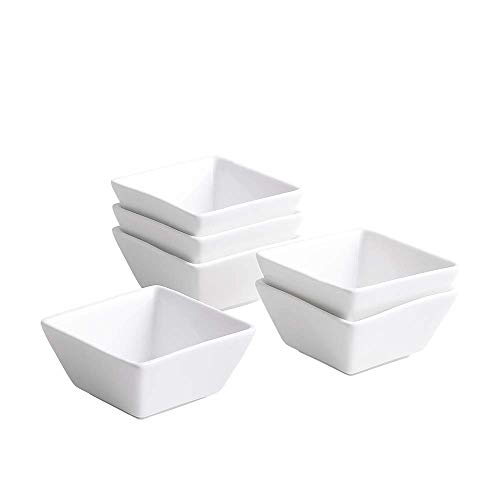 UIBFCWN 4.22 oz Porcelain Square bowl/Ramekins/Dish/Cup for Kitchen Prep, Dessert, Dips, Candy,Souffle, Creme Brulee and Sauces, White, Set of 6