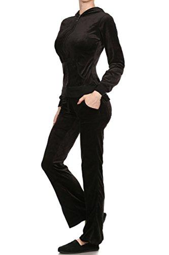 Cotton Womens Activewear Set (ViiViiKay Women's Soft Velour Tracksuit Athletic Zip Up Hoodie & Sweat Pants Set 001_BLACK XL)