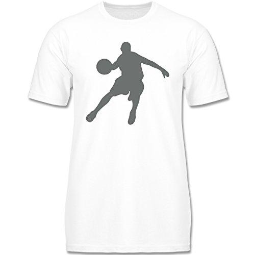 Sport Kind - Basketballspieler - 140 (9-11 Jahre) - Weiß - F140K - Kinder T-Shirt für Mädchen und Jungen