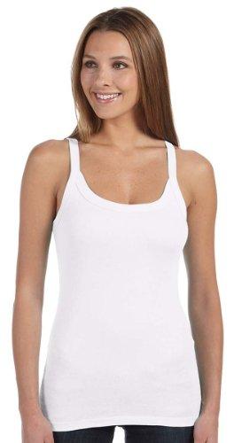 Bella Canvas Women's Sheer Mini Rib Thin Strap Tank, White, XX-Large