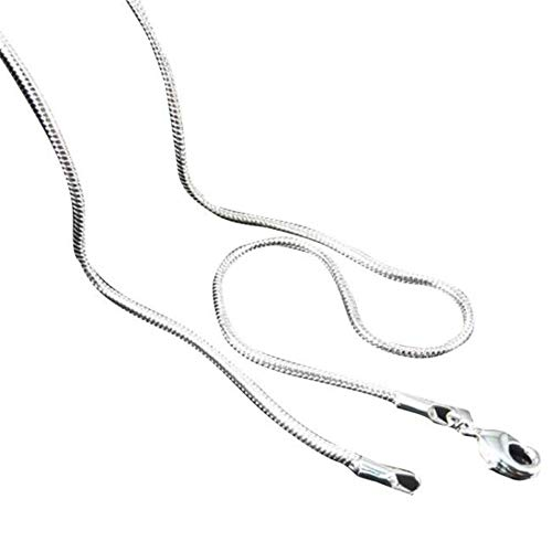 Price comparison product image MILIMIEYIK Snake Chain Necklace Silver Plated Herringbone Chain Necklace Flat Snake Chain for Men Women Unisex 16-22Inch