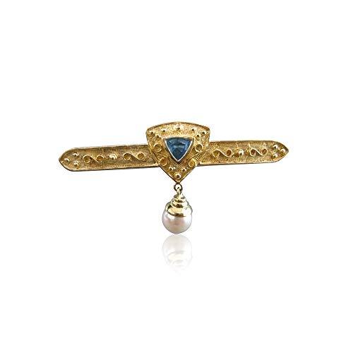 Milano Jewelers Blue Topaz Pearl 14K Yellow Gold Filigree Hanging Stick PIN Brooch #20855