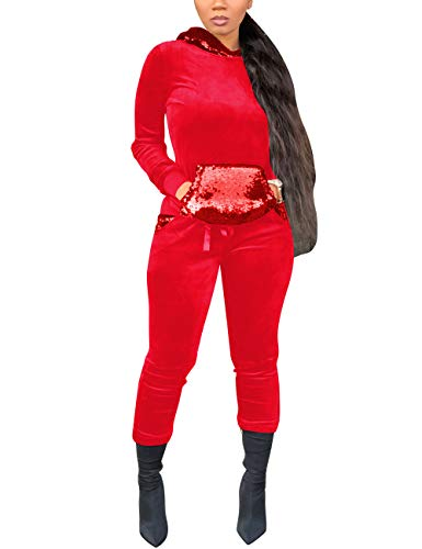 (Women's Velour Tracksuit Set Sequin 2 Piece Outfit Long Sleeve Hoodie and Pants Set Sweatsuit Red Medium)