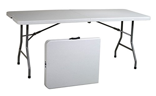 Office Star Resin Multipurpose Rectangle Table, 6-Feet, Center Folding - Flat Top Home Office Desk