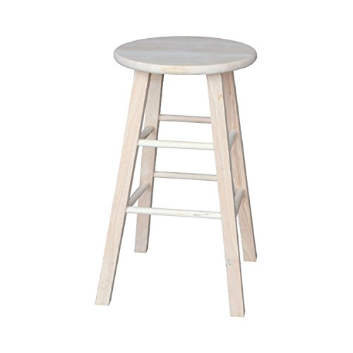 International Concepts 1S-530 30-Inch Round Top Stool, Unfinished - Swivel Unfinished Wood Bar Stool