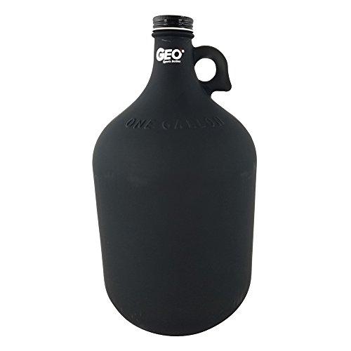 Water Bottle Holder Craft - 1 Gallon Glass Jug Reusable Water Bottle Jug BPA Free With Cap and Finger Holder - Black - Dark Colors Are Best For Alkaline Water Storage