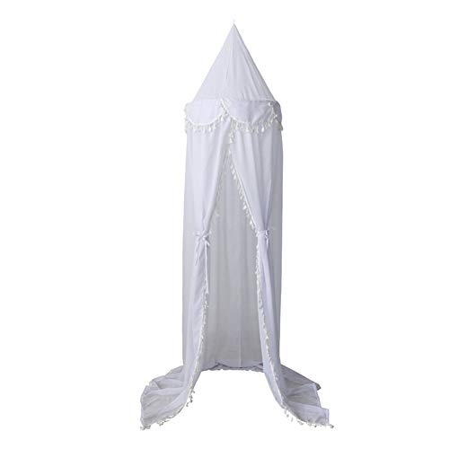 top0dream Summer Screen Repellant Netting Curtain Portable Hammock Bed Curtains Window Sills Mosquito Tents 240cm Kids Baby Room Bed Curtain Canopy Pointed Tassel Chiffon Hung Mosquito Net - White