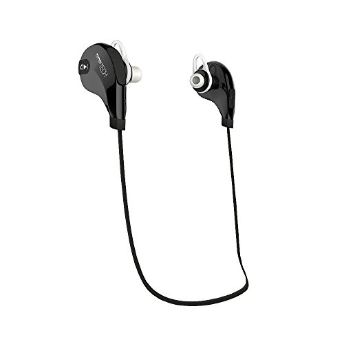 Pop Tech Bluetooth 4.1 Wireless, High Definition, Noise-Cancelling, Water-Resistant, Tangle-Free, Lightweight Earbud Headphones for iPhone/Android, Built-in Microphone/Headset (Black/Black)