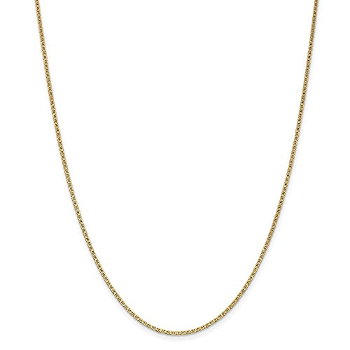 14k Yellow Gold 1.5mm Semi-Solid Anchor Mariner Link Chain Necklace 14