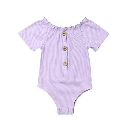 QQ1980s Infant Baby Girls Solid Ruched Romper Cotton O-Neck Cardigan with Button Sunsuit Pajamas Ruffled Casual Clothes (Purple, -