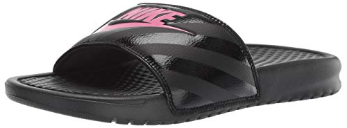 - Nike Women's Benassi Just Do It Sandal, Black/Vivid Pink, 8 B(M) US