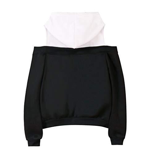 Cappuccio Fairy Moda Sportive Sweatshirt Pullover Donna Popolare Stampate Black17 Tail Spalle Scoperte Con Comoda Felpe wFwr8qA