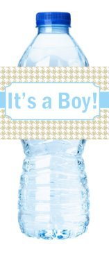Houndstooth Label - 24pack Burlap Houndstooth Baby Boy Shower Party Table Decorations Water Bottle Sticker Labels