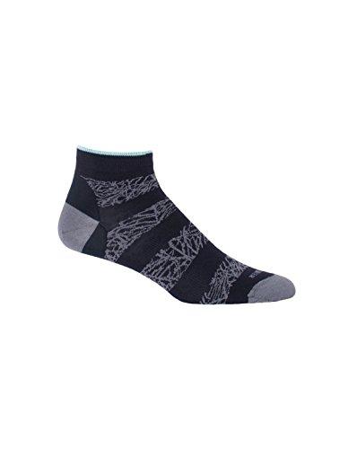 Icebreaker Women's Lifestyle Fine Gauge Ultra Light Low Cut Palm Slice Socks, Jet Heather/Admiral/Teardrop, One Size