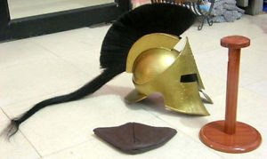 Junglevibes 300 Movie Spartan King Leonidas Helmet With Black Plume Leather Cap Wooden Stand
