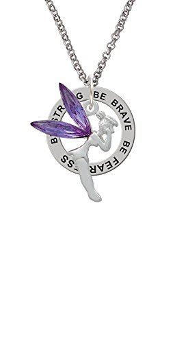 Silvertone Large Fairy with Purple Wings - Be Strong Brave Fearless Affirmation Ring Necklace]()