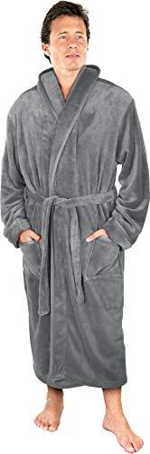 NY Threads Luxurious Men's Shawl Collar Fleece Bathrobe Spa Robe (Large/X-Large, Steel Grey)