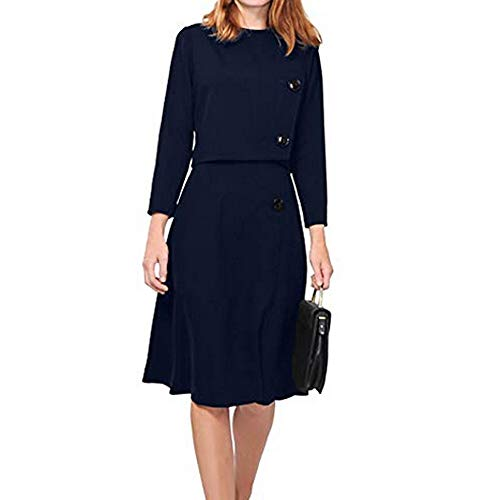 Clearance!HOSOME Women Knee-Length Top Women's Autumn Fashion Solid O-Neck Wrist Sleeve Button Skirt Suit -