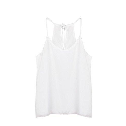 Anxinke Ladies Sexy Sleeveless Chiffon Shirt Spaghetti Strap V-Neck Tank Crop Top (White, - Cross Spaghetti