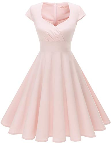 Light Pink Cocktail Dresses - Homrain Women's 1950s Retro Vintage Cap Sleeve Rockabilly Swing Dress Cocktail Dresses Light Pink M
