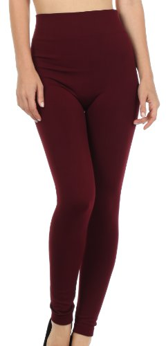 Sakkas 003GL Warm Soft Fleece Lined High Waist Leggings - Burgandy - One Size Plus