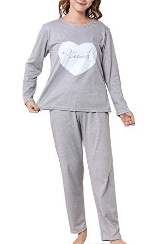 Big Girls Sweet Heart Long Sleeve Pajamas Set Young 10-18year by Leisure Home