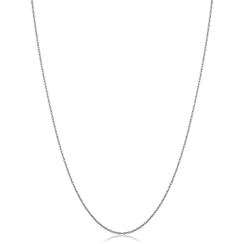 Solid 14k White Gold Dainty Rope Chain Necklace (0.7 mm, 24 inch)