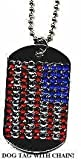 DOG TAG USA AMERICAN FLAG RHINESTONE WITH CHAIN