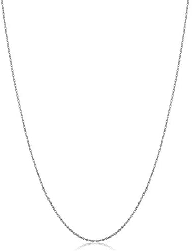 14k White Gold Rope Chain Barely-there Necklace (0.7 mm, 0.9 mm, 1 mm or 1.3 mm) - Thin And Lightweight