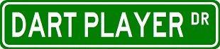 (DART PLAYER Street Sign ~ Custom Sticker Decal Wall Window Door Art Vinyl Street Signs - 8.25