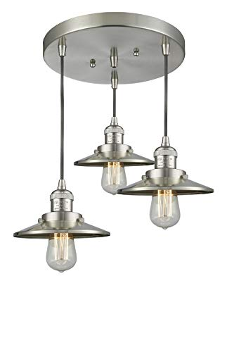Innovations Lighting 211/3-SN-M2 3 Light Multi-Pendant Brushed Satin - Pendant Nickel Railroad