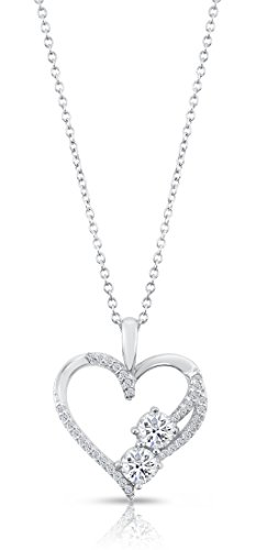 Sterling Silver Open Heart with Cubic Zirconias Pendant Necklace, 18 ()