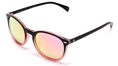 SAMBA SHADES Polarized Round Verona Horned Rim Sunglasses with Black and Transparent Pink Frame, Mirrored Lens (Pink Black Rims)