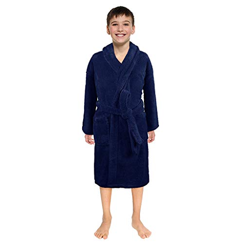 (SUNBIBE Kids Robes, Hooded Terry Flannel Bathrobe for Girls Boys, Shower Spa Bath Towel Nightgown Sleepwear with Pockets (Age:6-8 Years Old,)