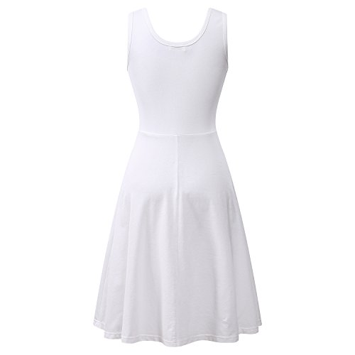 1d990871d6c1 Herou Women Summer Beach Casual Flared Midi Tank Dress (Large, White)