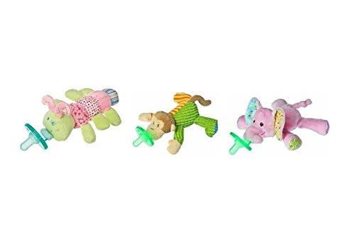 Mary Meyer Wubbanub Plush Pacifier, Limited Edition Set (Cutsie Caterpillar, Mango Monkey and Ella Bella Elephant)