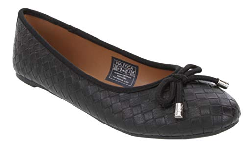 (Nautica Women's Solana Ballet Flats-Casual Walking Shoes-Solana Embossed-Black-7)