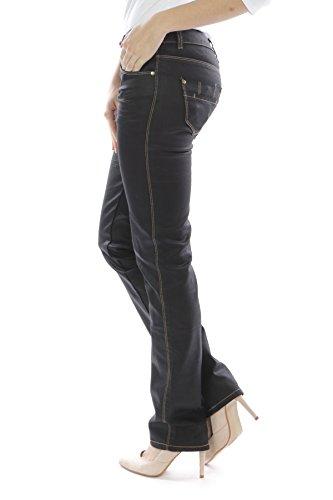 Jean bootcut hipster sexy pour femme, aspect cuir, noir, tailles britannique 6,8,10,12,14