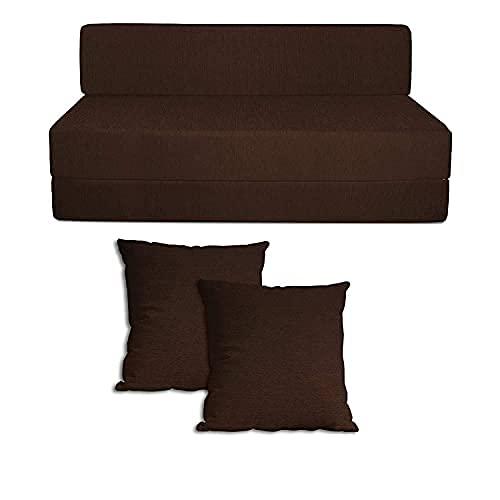 Easy Shopping High Density Foam 2 Seater Sofa Cum Bed Mechanism Fold Out (Dark Brown, 4 X 6 Feet, 4 X 6 X 8)