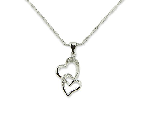 Bridal Necklace Intertwined Double Hearts Silver-Platinum-Plated Pendants and Chain Amazing Gift for Wedding or Anniversary